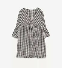 NWT SIze M Zara Jumpsuit Dress With Ruffled Sleeves Babydoll Playsuit Rare