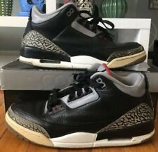 c56ad8dc8b5019 NIKE AIR JORDAN III 3 RETRO BLACK CEMENT RED GRAY SIZE 9.5 136064-