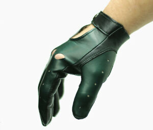 Superb car driving gloves for men, soft nappa lamb leather, British Racing Green