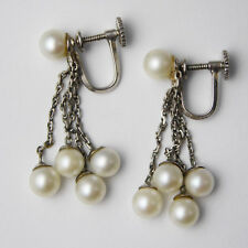 Vintage 14ct White Gold & Cultured Pearl Drop Dangle Earrings – Screw Back