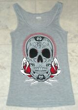 Women's Fatal Clothing Day of the Dead Tattoo Sugar Skull Tank Top Size Small
