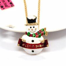 Red Rhinestone Enamel Christmas snowman Pendant Betsey Johnson Sweater Necklace
