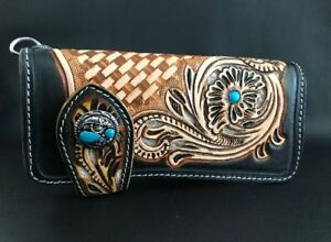 Biker Wallet black tan leather in the Sheridan style and a Classic concho Harley