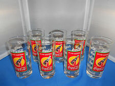 VINTAGE ORIGINAL 15oz. COCA COLA GLASSES COKE ITS THE REAL THE SET OF 7 1980'S