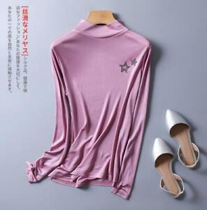Women's 50% Silk Lace T-Shirt Long Sleeve undershirt Classical top L-3XL SG315