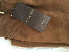 GUCCI MEN'S V NECK JUMPER SWEATER PULLOVER M CAMEL BROWN UMBER RRP £520 CASHMERE