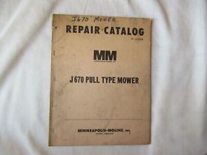1964 Minneapolis Moline J670 pull-type mower parts catalog manual