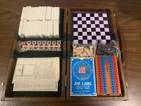 Vintage Unused Travel Game Case Cribbage Dominoes Chess Checkers Cards