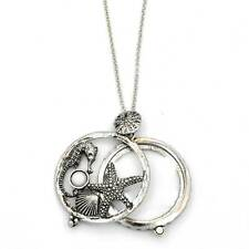 """Silver 5X Magnifying Glass Starfish Seahorse Pendant 31"""" Chain Necklace SJ023S"""