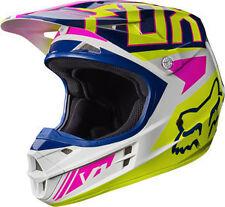 Fox Racing Adult V1 2017 Motocross Helmet Falcon Navy / White Pink XL