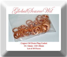 LOT 50 COPPER OIL DRAIN PLUG WASHER GASKET 14MM FITS: AUDI VW GM MAZDA SAAB &