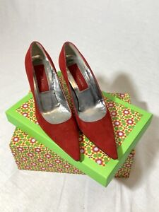 CHRISTIAN LACROIX Red Suede Heels Pointed Toe Classic Pumps  Size IT 37 US 6.5