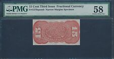 Fr1276 15¢ 3Rd Issue Fractional Specimen Reverse Pmg 58 About Choice Unc Bs8809