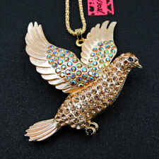 Hot Gold Peace Pigeon Colorful Crystal Betsey Johnson Pendant Sweater Necklace