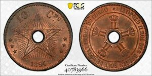 CONGO Free State 1894 10 Centime PCGS MS63RB