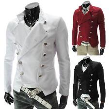 Men Military Double-Breasted Stand Collar Casual Blazers Suit Jacket Coat Trench