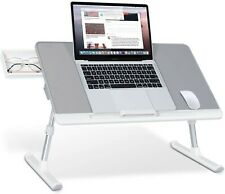 SAIJI Laptop Table Stand Desk, Adjustable PVC Leather Laptop Bed Table, Portable