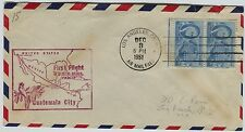 1951 First Flight Los Angeles California to Guatemala City cover  Air Mail
