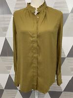 Ann Taylor Women's Size M Green Button Front Long Sleeve Top Blouse #8C15