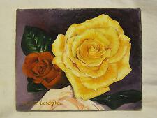 beautiful original art M.K. Truesdale painting flower rose floral flower