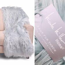 Nicole Miller Dusty Aqua Blue Faux Fur Throw Blanket Soft Fluffy Luxury Designer
