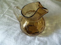 Mid Century Glass Hand Blown Coin Spot Water Pitcher Amber Clear Applied Handle