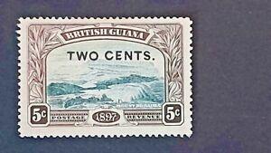 BRITISH GUIANA Victoria QV 1899 SG 222d 2c on 5c Shaved ' E ' LMM Good - Fine Ex