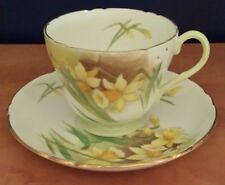 Shelley Bone China Teacup & Saucer Set with Yellow Daffodils