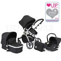 AWARD WINNING BLACK CARRERA SPORT 3-in-1 Baby Travel System/Pushchair/Pram