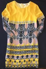J Crew Jules Dress 2 Scroll Print yellow navy 100% Silk Crêpe NEW $198 38169