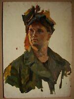 Russian Ukrainian Soviet Oil Painting Portrait soc realism mine worker 1950s