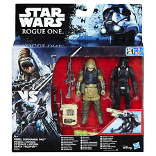 "Star Wars Rogue One 3.75"" Rebel Commando Pao vs Imperial Death Trooper figures"