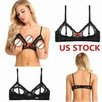 Women See Through Bra Top Open Cup Bralette Bustier Exposed Bare Breasts Nipples