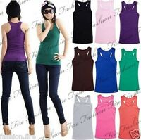 New Womens Ladies & Girls Stretchy Muscle Vest Racer Back Summer Vest Top
