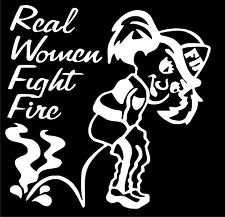 "Firefighter Decal - Real Women Fight Fire 4"" Exterior Window Decal in White"