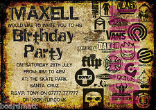 Skateboard Personalised Party Invitations x10 sick skater brand names SK8-4