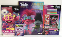 4 Pc Trolls World Tour Word Search Book Glitter Crayons Markers Fun Set Stickers