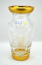 "Czech Bohemia Crystal Conical Gold Gilt Flower Vase 8-1/4"" Tall - Stunning"