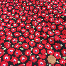 "per half metre black & red poppy floral fabric 100% cotton poplin  44 "" wide"