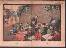 ECOLIERS PROFESSEURS COURS DESSIN BUTTE MONTMARTRE POULBOTS  ILLUSTRATION 1934