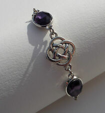 BRACELET DARK SILVER PLATED ROUND CELTIC KNOTS FACETED PURPLE GLASS CRYSTAL OVAL