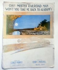 Black Americana Sheet Music Oh Mr Railroad Man Won't You Take Me Back To Alabam