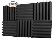 "A2S 6pcs Acoustic Foam Tiles 2""X12""X12"" Sound Insulation Wedge Fireproof Black"