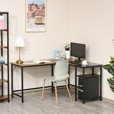 Computer Desk with Adjustable Storage Shelf Wood Grain Surface Home Office Use