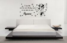 Personalised Disney Minnie Mouse I Love U Wall Art Stickers Children Room Decals