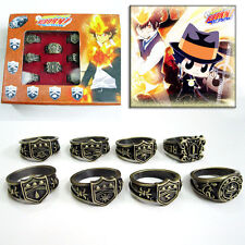 Anime Hitman Reborn Vongola Vintage Metal Finger Ring Cosplay Jewelry 8pc/set
