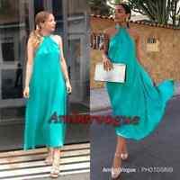 Zara Green Satin Flowing Maxi Front Knot Halterneck Dress SIZE M UK 10 12