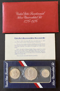 1976 United States Bicentennial Silver 3 Coin Uncirculated Set