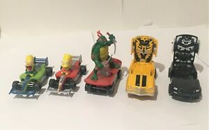 Micro Scalextric TV/Movie themed racing cars x5 Simpsons Transformers etc