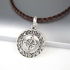 Vintage Silver Alloy Celtic Round Knot Pendant Braided Brown Leather Necklace